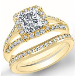 Natural 4.02 CTW Halo Radiant Cut Diamond Split Shank Engagement Set 18KT Yellow Gold