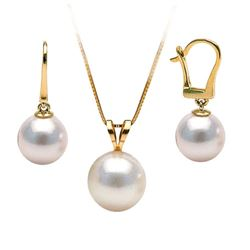 White Akoya Pearl Solitaire Pendant and Dangle Earring Set
