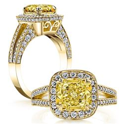 Natural 3.27 CTW Halo Canary Light Yellow Cushion Cut Diamond Ring 18KT Yellow Gold