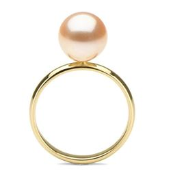 Pink Freshwater Pearl Solitaire Ring, 9.5-10.0mm, 14K Gold