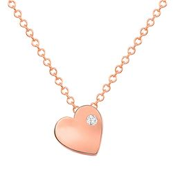 Natural 0.02 CTW Tender Heart Diamond Necklace 18KT Rose Gold