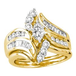 14kt Yellow Gold Marquise Diamond Bridal Wedding Ring Band Set 1-1/2 Cttw