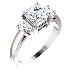 Natural 2.82 CTW Asscher Cut with Half Moons 3-Stone Diamond Ring 14KT White Gold