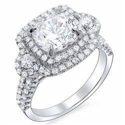 Natural 3.53 CTW Round Brilliant Cut Double Halo U-Pave Diamond Engagement Ring 14KT White Gold