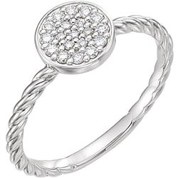Natural 0.19 CTW Diamond Cluster Rope Promise Ring 18KT White Gold