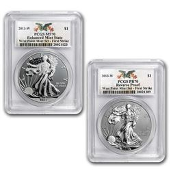 2013 2-Coin Silver Eagle Set MS/PR-70 PCGS (FirstStrike®, WP)