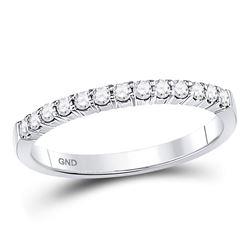 14kt White Gold Womens Round Diamond Machine-set Wedding Band Ring 1/4 Cttw