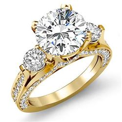 Natural 3.32 CTW Round Cut 3-Stone Diamond Engagement Ring 18KT Yellow Gold
