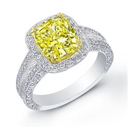 Natural 3.37 CTW Canary Yellow Diamond Pave Halo Engagement Ring 18KT Two-tone
