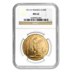 1911-A France Gold 100 Francs Lucky Angel MS-62 NGC
