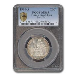 1901-A French Indo-China 20 Cents MS-63 PCGS