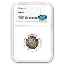 1900 Barber Dime MS-64 NGC CAC