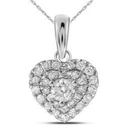 14kt White Gold Womens Round Diamond Fashion Heart Pendant 1/3 Cttw