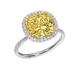 Natural 4.12 CTW Halo Canary Yellow Cushion Cut Diamond Ring 18KT Two-tone