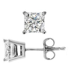 Natural 3.02 CTW Princess Cut Diamond Stud Earrings 14KT White Gold