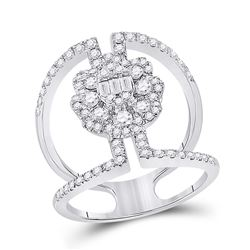 14kt White Gold Womens Baguette Diamond Negative Space Cluster Ring 1-1/5 Cttw