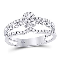 14kt White Gold Womens Round Diamond Scroll Cluster Ring 1/3 Cttw