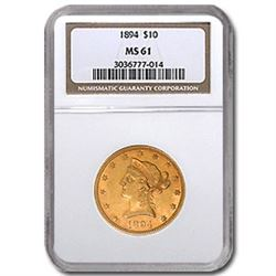 1894 $10 Liberty Gold Eagle MS-61 NGC