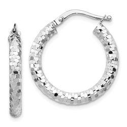 14k White Gold 3x15 mm Diamond-cut Hoop Earrings - 23 mm