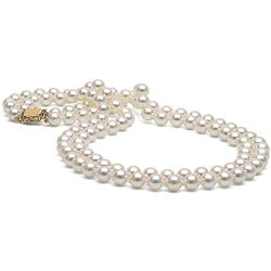 White Akoya Double Strand Pearl Necklace, 7.0-7.5mm