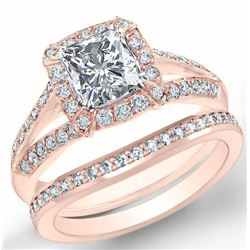Natural 2.22 CTW Halo Radiant Cut Split Shank Diamond Engagement Ring 18KT Rose Gold