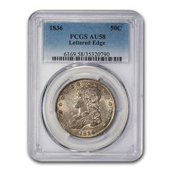 1836 Capped Bust Half Dollar AU-58 PCGS (Lettered Edge)