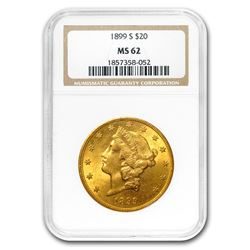 1899-S $20 Liberty Gold Double Eagle MS-62 NGC