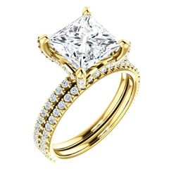 Natural 4.02 CTW Under-Halo Princess Cut Diamond Ring 14KT Yellow Gold