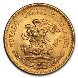 1920 Mexico Gold 20 Pesos AU