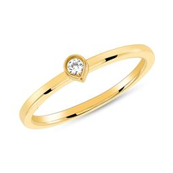 Natural 0.05 CTW Bezel Diamond Tear Drop Ring 18KT Yellow Gold