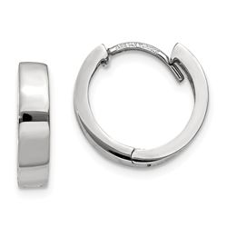 14k White Gold 13 mm Hinged Hoop Earrings
