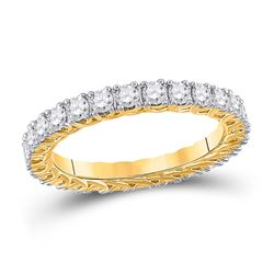 14kt Yellow Gold Womens Round Diamond Eternity Wedding Band 1-1/2 Cttw