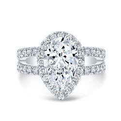 Natural 2.92 CTW Pear Cut Split Shank Diamond Engagement Ring 14KT White Gold