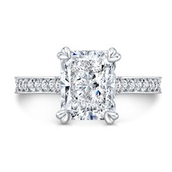 Natural 2.82 CTW Radiant Cut Diamond Engagement Ring 14KT White Gold