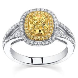 Natural 2.32 CTW Halo Canary Intense Yellow Cushion Cut Diamond Engagement Ring 18KT Two-tone