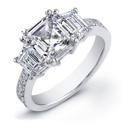 Natural 2.12 CTW Asscher Cut & Trapezoids Diamond Engagement Ring 14KT White Gold