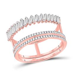 14kt Rose Gold Womens Baguette Round Diamond Modern Negative Space Ring 5/8 Cttw