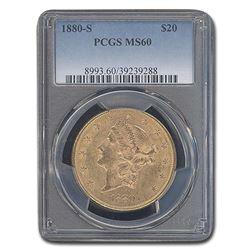1880-S $20 Liberty Gold Double Eagle MS-60 PCGS
