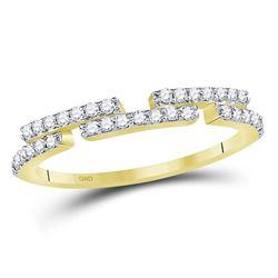 14kt Yellow Gold Womens Round Diamond Broken Bar Horizontal Band Ring 1/4 Cttw