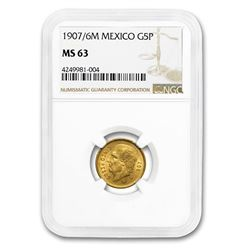 1907/6 Mexico Gold 5 Pesos MS-63 NGC