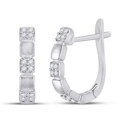 14kt White Gold Womens Round Diamond Alternating Square Hoop Earrings 1/10 Cttw
