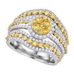 14kt White Gold Womens Round Yellow Diamond Stripe Cluster Ring 2 Cttw