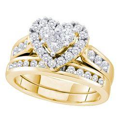 14kt Yellow Gold Princess Diamond Heart Bridal Wedding Ring Band Set 1 Cttw