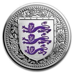 2018 Gibraltar 1 oz Silver Royal Arms of England Proof (Purple)