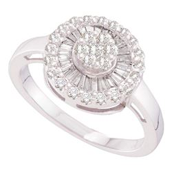 14kt White Gold Womens Round Diamond Flower Cluster Ring 3/4 Cttw