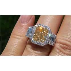 Natural 3.72 CTW Halo Canary Yellow Radiant Cut Split Shank Diamond Engagement Ring 14KT Two-tone