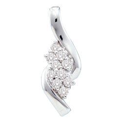 14kt White Gold Womens Round Diamond Fashion Cluster Pendant 1/4 Cttw