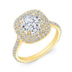 Natural 3.17 CTW Cushion Cut Double Halo Diamond Engagement Ring 18KT Yellow Gold