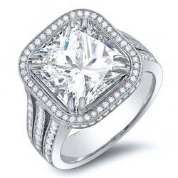 Natural 3.45 CTW Radiant Cut Pave Diamond Split Shank Engagement Ring 18KT White Gold