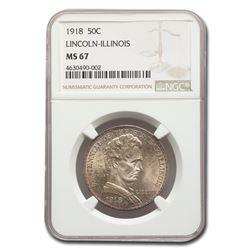 1918 Lincoln Illinois Centennial Half Dollar MS-67 NGC